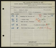 Entry card for Peets, Orville Houghton for the 1927 May Show.