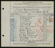 Entry card for Rentschler, Fred for the 1927 May Show.