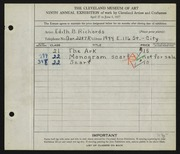 Entry card for Richards, Edith B. for the 1927 May Show.