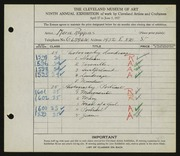 Entry card for Riggins, Marie for the 1927 May Show.