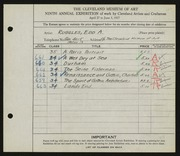 Entry card for Ruggles, E. A. (Edd Alvah) for the 1927 May Show.