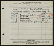 Entry card for Rychtarik, Richard for the 1927 May Show.