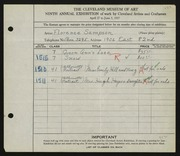 Entry card for Sampson, Florence for the 1927 May Show.