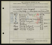 Entry card for McClean, Clara for the 1927 May Show.