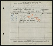 Entry card for Schraishuhn, Eunice E. for the 1927 May Show.