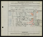 Entry card for Seaver, Hugh for the 1927 May Show.