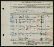 Entry card for Shaw, Elsa Vick for the 1927 May Show.