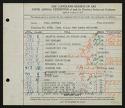 Entry card for Shively, Paul for the 1927 May Show.