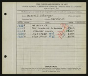 Entry card for Silberger, Manuel G. for the 1927 May Show.