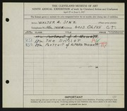 Entry card for Sinz, Walter A. for the 1927 May Show.