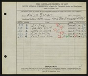 Entry card for Sloan, Allan E. for the 1927 May Show.