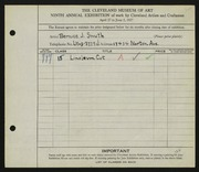 Entry card for Smith, Bernice J. for the 1927 May Show.
