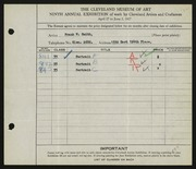 Entry card for Smith, Frank W. for the 1927 May Show.