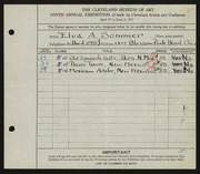 Entry card for Sommer, Elva A. for the 1927 May Show.