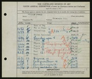 Entry card for Sommer, William for the 1927 May Show.