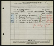 Entry card for Stanley-Brown, R. (Rudolph) for the 1927 May Show.