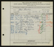 Entry card for Steinke, John for the 1927 May Show.