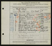 Entry card for Stoll, Rolf for the 1927 May Show.