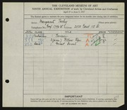 Entry card for Techy, Margaret for the 1927 May Show.