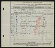 Entry card for Tiberg, Wiktor for the 1927 May Show.