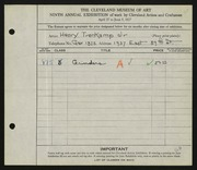 Entry card for Trenkamp, Henry Jr. for the 1927 May Show.