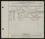 Entry card for Vago, Sandor for the 1927 May Show.