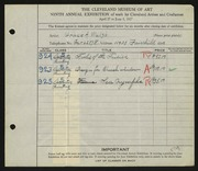 Entry card for Walsh, Grace for the 1927 May Show.