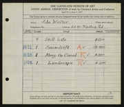 Entry card for Walter, John for the 1927 May Show.