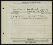 Entry card for Westbrook, Lloyd L. for the 1927 May Show.