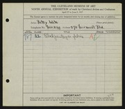 Entry card for Witt, Betty for the 1927 May Show.