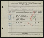 Entry card for Wolff, Arthur F. for the 1927 May Show.