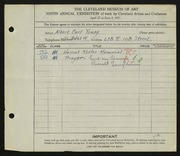 Entry card for Young, Albert Carl for the 1927 May Show.