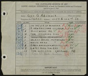 Entry card for Adomeit, George G. for the 1928 May Show.