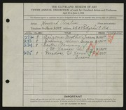 Entry card for Austin, Howard B. for the 1928 May Show.