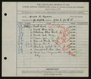 Entry card for Ayars, Alice A. for the 1928 May Show.