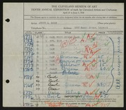 Entry card for Baggs, Arthur E. for the 1928 May Show.