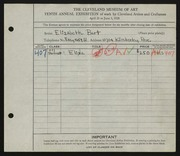 Entry card for Gerald, Elizabeth Bart for the 1928 May Show.