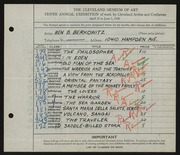 Entry card for Berkowitz, Benjamin B. for the 1928 May Show.