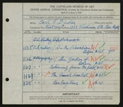 Entry card for Binder, Carl for the 1928 May Show.