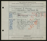 Entry card for Blazey, Lawrence for the 1928 May Show.