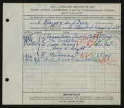 Entry card for Blazys, Alexander, and Dyer, Nora E.; Cleveland School of Art for the 1928 May Show.