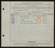 Entry card for Boersig, Joseph A. for the 1928 May Show.