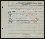 Entry card for Braddon, Charles Edwin for the 1928 May Show.