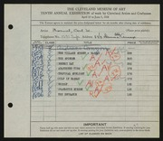 Entry card for Broemel, Carl William for the 1928 May Show.