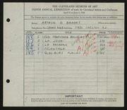 Entry card for Brooks, Arthur D. for the 1928 May Show.