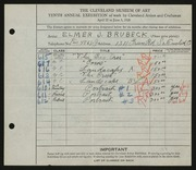 Entry card for Brubeck, Elmer J. for the 1928 May Show.