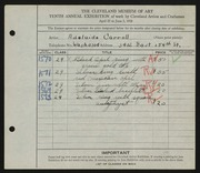 Entry card for Carroll, Adelaide for the 1928 May Show.