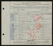 Entry card for Carter, Clarence Holbrook for the 1928 May Show.