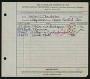 Entry card for Chudoba, Helen L. for the 1928 May Show.