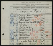 Entry card for Clough, Stanley T. for the 1928 May Show.